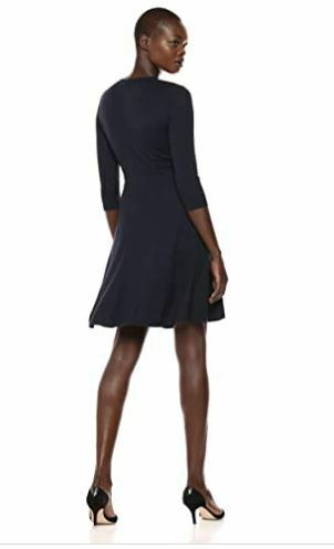 Lark & Ro Women's Three Quarter Sleeve Faux Wrap Fit and Flare Dress Navy SM NEW