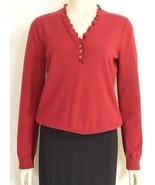 Ralph Lauren sweater SZ M 100% cotton knit red gold buttons long sleeve. - $11.87