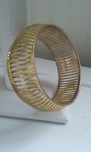 Vintage Gold Tone Hollow Caged Chunky Mod Fashion Bangle  - $40.00