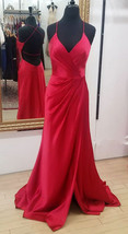 Spaghetti Straps Split Side Red Long Prom Dresses Evening Dress - $99.99+