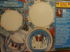 Snowman Stoneware Dish Set 20 Pc Set Debbie Nunn Sakura - $98.99