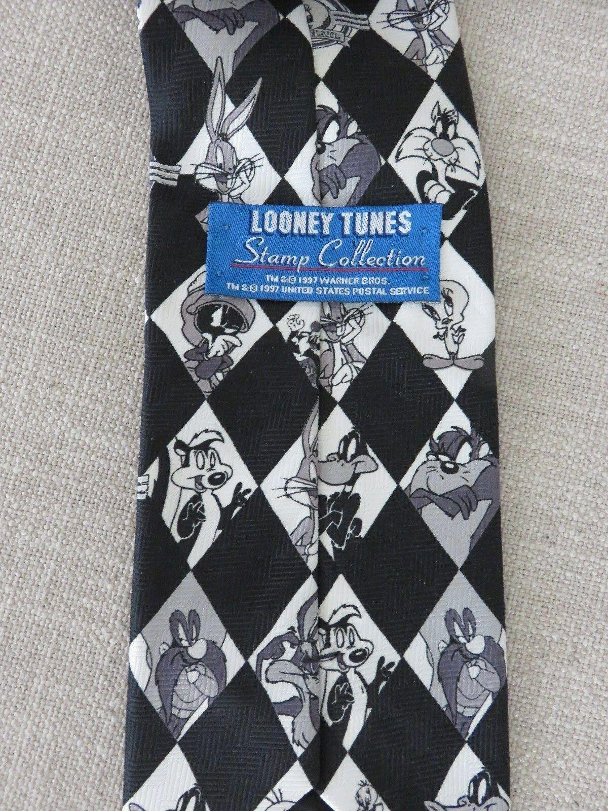 1997 Looney Tunes U.S. Mail Tie Bugs Bunny Tweety Bird Sylvester Wylie Coyote