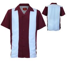 Men's Retro Classic Two Tone Guayabera Bowling Casual Dress Shirt w/ Defect - M