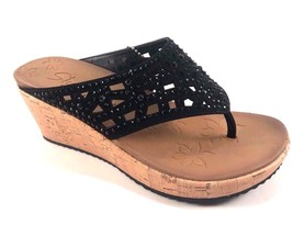 Skechers 38537 Black Dazzled Lux Foam Wedge Thong Slip On Sandals Size 9 - $41.30