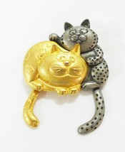 Vintage danecraft articulate jointed cats gold tone pewter brooch swinging tails - $12.88