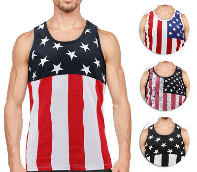 Men's USA American Flag Sleeveless Shirt Summer Beach Patriotic Tank Top