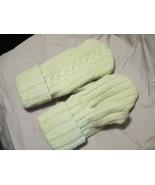 Handmade Recycled Wool Fleece Lined Mittens Mint Green Ladies/Teens Size... - $14.85