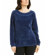 Karen Scott Navy Blue Elegant Chenille Sweater XS - $24.97