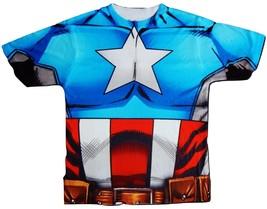Captain America Avengers 2-Sided Sublimated Costume Tee T-Shirt Boys 4-5 6-7 - $16.02