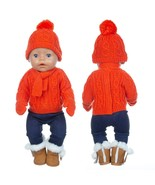 1Set Sweater Suit+hat+scarf +gloves Fit 17inch 43cm Doll Clothes Born Ba... - $16.50