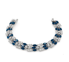 Kemstone Blue Cubic Zirconia Chain Tennis Bracelet Silver Plated Women P... - $134.64