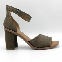 Franco Sarto Womens Caia Sandal Block Heels Shoes Green Leather Ankle Strap 8 M - $34.64