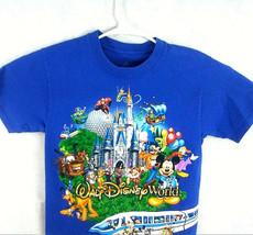 Mickey Goofy Tinkerbell Walt Disney World Blue wrap around graphic T shirt sz S - $12.76