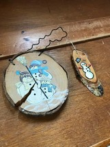 Estate Lot of 2 Rustic Painted Tree Branch Slice Snowman Christmas Tree ... - $10.39