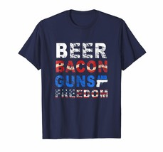 Dad Shirts -  Beer Bacon Guns And Freedom T-Shirt Fourth of July Gift Men - $19.95+