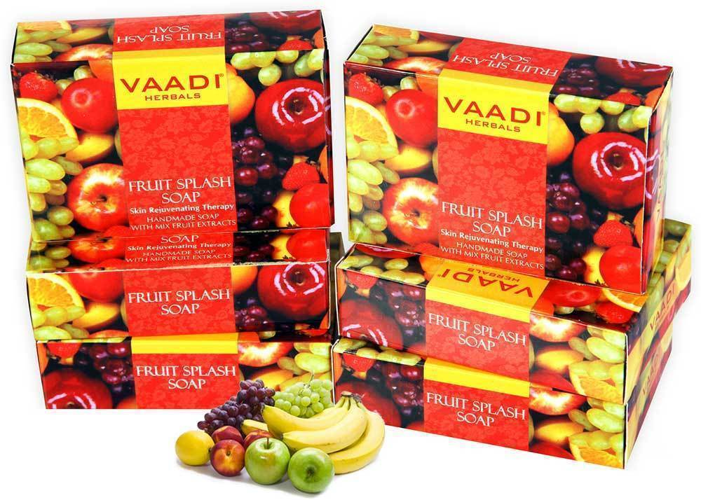 Vaadi Herbals Fruit Splash Soap with Orange Peach Green Apple 75gm
