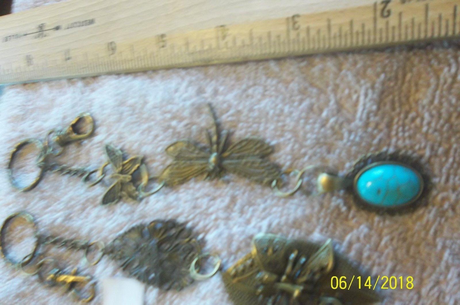 # purse jewlrey bronze color keychain backpack filigree charms lot 06 lot of 2