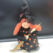 VINTAGE HALLOWEEN WITCH plush doll stuffed animal salem broomstick candy... - $49.50