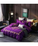 Purple Egyptian Cotton Duvet Set 4/6 Pcs King/Queen Bedding  - $164.99 - $194.49
