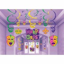 Mardi Gras Hanging Decorations Swirls Mega 30 Pc Value Party Pack - $13.77