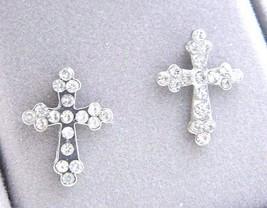 VTG Silver Tone Clear Rhinestone Crucifix Post Earrings - $19.80