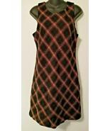 TALBOTS Plaid Tartan Sweater Dress 10P Petites Wool Blend Black Sleevele... - $34.99