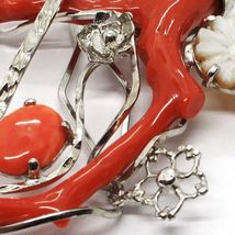 SILVER 925 PENDANT CAMEO CAMEO, BRANCH OF RED CORAL, FLOWERS, LEAF image 7