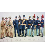 US ARMY 1899 Uniforms Artillery Officers General Sargent - COLOR Litho P... - $21.60