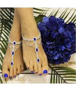 Barefoot Sandals, SAPPHIRE BLUE, royal blue, foot jewelry, footless sand... - $31.99