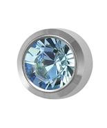 New Silver Personal Piercer March Bezel Aquamarine 3mm Ear Piercing Earr... - $7.99