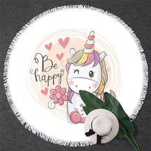 Be Happy Unicorn Beach Towel - $12.32+