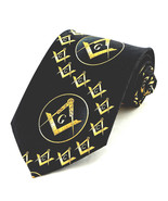 Compass Swirl Mens Neck Tie Mason Freemasonry Square Black Necktie Gift New - $15.79