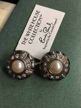 VINTAGE ESTATE SIGNED ERWIN PEARL Silver Rhinestone EARRINGS  clip New O... - $59.99