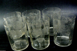 Set of 6 water glasses etched grape design ~very pretty~ - $54.65