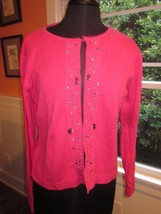 LIZ CLAIBORNE LIZ SPORT EMBELLISHED CARDIGAN SWEATER SIZE LARGE PRE-OWNED - $14.99