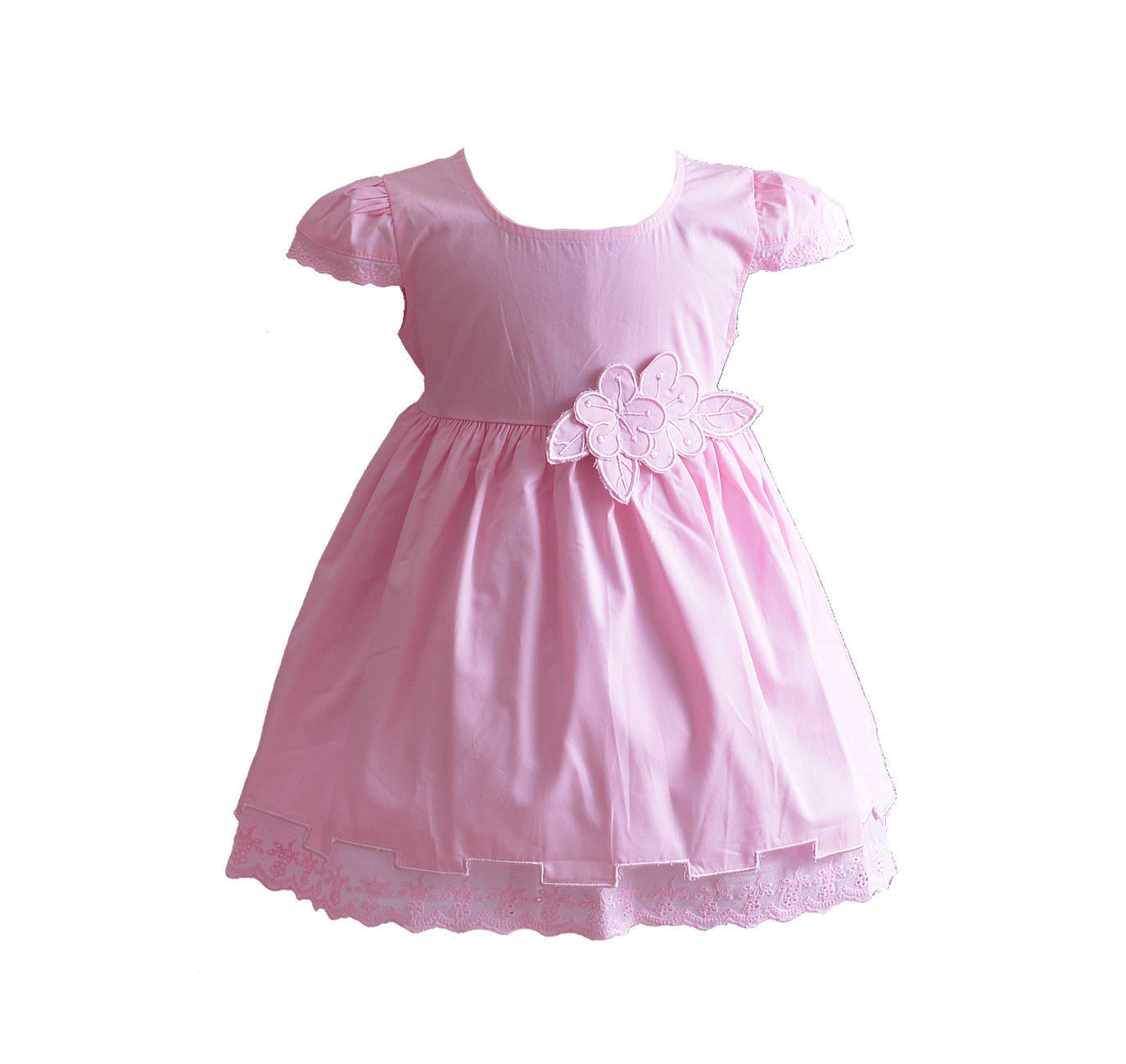 888bd9c35739d Baby Girls Floral Cotton Dress Pink White Yellow Blue 6 9 12 18 24 Months