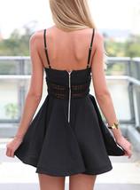 Mini Skater Party Dress - Peek-a-Boo Lace Trim / Exposed Silver Zipper image 2
