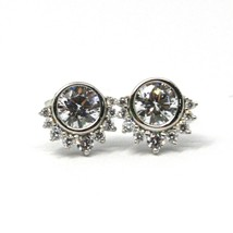 SOLID 18K WHITE GOLD STUD EARRINGS, SUN, CROWN, EYE, CUBIC ZIRCONIA, 0.3 INCHES image 1