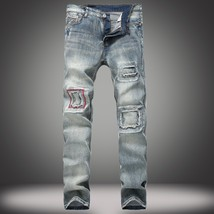 ZCY Nostalgic Men's Jeans Patch Patch Slim Straight Jeans Retro Fashion Wave Men - $55.08