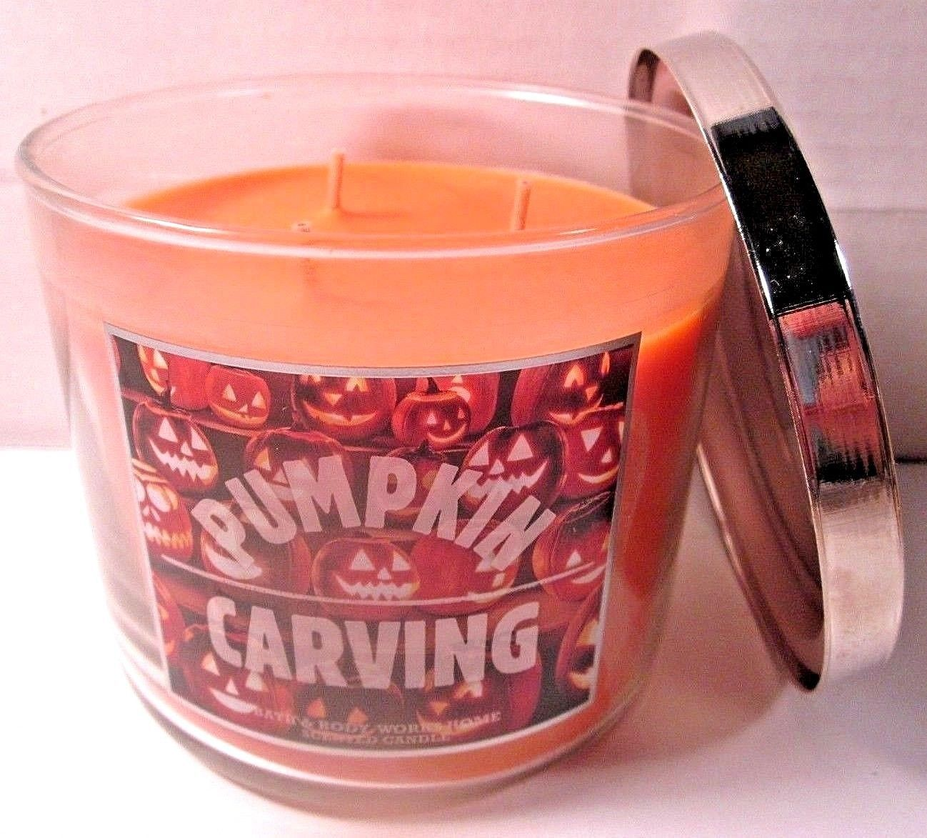 Bath & Body Works 3 wick 14.5 oz Candle jack-o-lanterns  Pumpkin Carving image 2