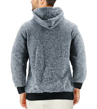 Men's Salt and Pepper Soft Sweater Sherpa Lined Heathered Zip Up Hoodie Jacket image 3