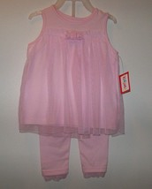 New 3-6 months baby girls 2 pc. pink outfit pants & matching top w/ lace... - $8.99