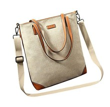 Smart Casual Canvas Tote Handbag Shoulder Bag Messenger Bag BEIGE