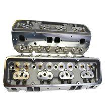 SBC Small Block Chevy GM Straight Plug Aluminum Cylinder Head Set 64cc 2.02/1.60 image 5