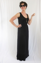 Black Scoop Neck Maxi with Ruffle Hem, Shirred Waist, Black Maxi, Womens