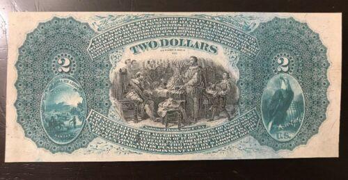 Reproduction $2 National Bank Note 1875 Lazy Deuce Emporia Kansas Copy