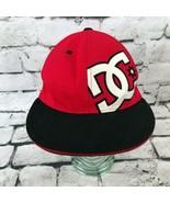 DC Mens Sz L-LX Hat Red Black Round Bill Flexfit Pro Back Fitted Basebal... - $9.89