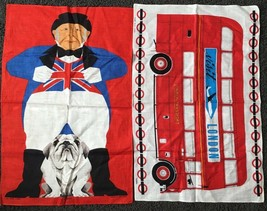 Set of 2 ULSTER Irish Linen Tea Towels Bulldog British Flag and London T... - $50.48