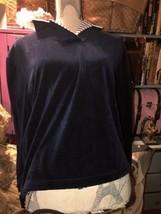 ST.JOHN SPORT by Marie Gray Charming Navy Blue Velvet Blouse Size P - $24.75