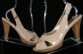 Sofft beige patent leather cross strap buckle slingback stacked heels 8M 6148 - $32.12